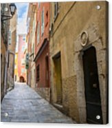 Medieval Street In Villefranche-sur-mer Acrylic Print