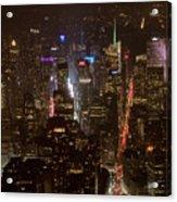 Midtown Manhattan Skyline Aerial At Night Acrylic Print