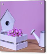 Miniature Gardening Kit With Pink Background Acrylic Print