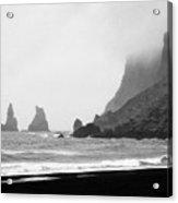 mist rolling in on black sand vik beach and Vik i Myrdal Iceland Acrylic Print