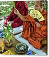 Monks Blessing Buddhist Wedding Ceremony In Cambodia Acrylic Print