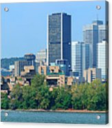 Montreal City Skyline Over River Panorama Acrylic Print