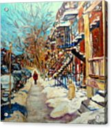 Montreal Street In Winter Acrylic Print by Carole Spandau