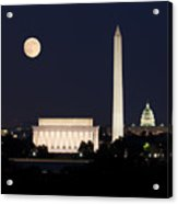 Moon Rising In Washington Dc Acrylic Print