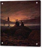 Moon Rising Over The Sea Acrylic Print by Caspar David Friedrich