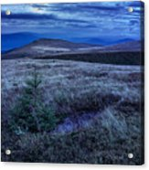 Moonlight On Stone Mountain Slope With Forest Acrylic Print
