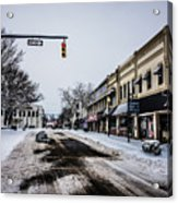 Moresville North Carolina Streets Covered In Snow Acrylic Print