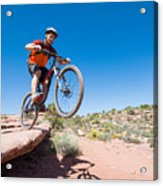 Mountain Biking The Porcupine Rim Trail Near Moab Acrylic Print
