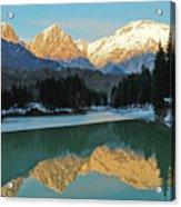 Mountain Reflections On Lago Di Barcis Acrylic Print