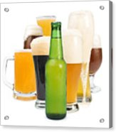 Mug Filled With Beer And Bottles Acrylic Print