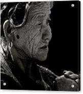 Nepali Elder At Bodhnath Stupa Acrylic Print