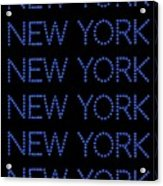 New York - Blue On Black Background Acrylic Print