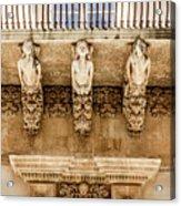 Noto, Sicily, Italy - Detail Of Baroque Balcony, 1750 Acrylic Print