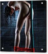 Nude Tied To A Bamboo Tube - Fine Art Of Bondage Acrylic Print by Rod Meier