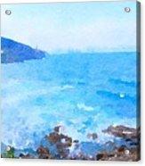 Ocean Coastline Watercolor Acrylic Print