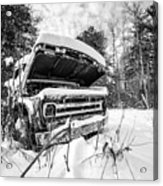 Old Abandoned Pickup Truck In The Snow Acrylic Print