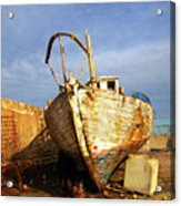 Old Dilapidated Wooden Boat  Acrylic Print