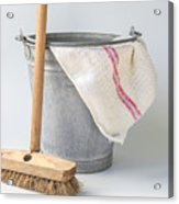 Old Fashioned Housekeeping With Zinc Bucket Acrylic Print