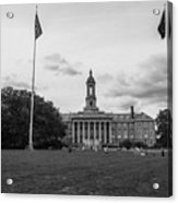 Old Main Penn State Black And White  Acrylic Print