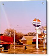 Old Signs At The Mother Road - Standard Oil And Motel - Route 66 Acrylic Print