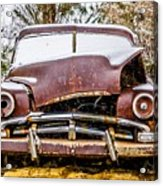 Old Vintage Plymouth Automobile In The Woods Covered In Snow Acrylic Print