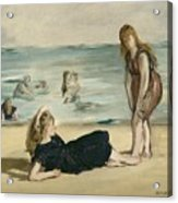 On The Beach Acrylic Print by Edouard Manet