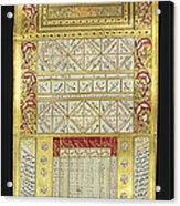 Ottoman Calendar, 19th Century Acrylic Print