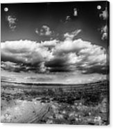 Panorama Of A Valley In Utah Desert With Blue Sky Acrylic Print