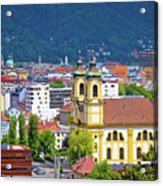 Panoramic Aerial View Of Innsbruck And Hafelekarspitze Mountain Acrylic Print