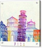 Barcelona Landmarks Watercolor Poster Acrylic Print