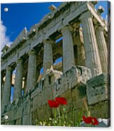Parthenon With Poppies Acrylic Print