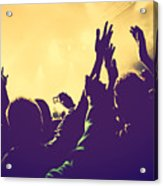 People With Hands Up In Night Club Acrylic Print