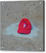 Phillies Hat On Home Plate Acrylic Print