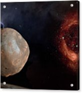 Phobos In The Space Over Mars Acrylic Print