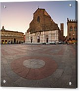Piazza Maggiore And San Petronio Basilica In The Morning, Bologna, Emilia-romanga, Italy Acrylic Print