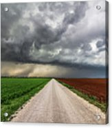Pick A Side - Colorful Fields Divided By Road On Stormy Day In Oklahoma. Acrylic Print