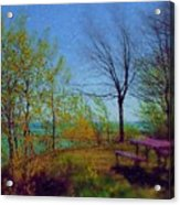 Picnic Table By The Lake Acrylic Print