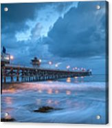 Pier In Blue Acrylic Print by Gary Zuercher