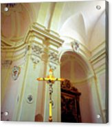 Pink Cathedral With Gold Cross Acrylic Print