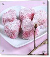 Pink Heart Shape Small Lamington Cakes Acrylic Print