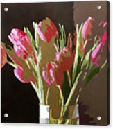 Pink Tulips In Glass Acrylic Print