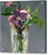 Pinks And Clematis In A Crystal Vase Acrylic Print