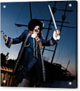 Pirate With A Treasure Chest Acrylic Print