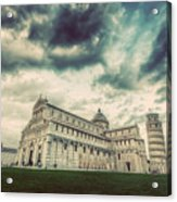 Pisa Cathedral With The Leaning Tower Of Pisa, Tuscany, Italy. Vintage Acrylic Print