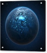 Planet With Illuminated Network Acrylic Print