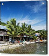 Polluted Dirty Beach With Garbage Rubbish In Koh Rong Island Cam Acrylic Print