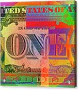 Pop-art Colorized One U. S. Dollar Bill Reverse Acrylic Print