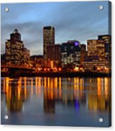 Portland Oregon At Dusk. Acrylic Print by Gino Rigucci