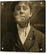 Portrait Of A Boy Smoking A Pipe Acrylic Print by Everett