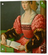 Portrait Of A Woman With A Book Of Music Acrylic Print